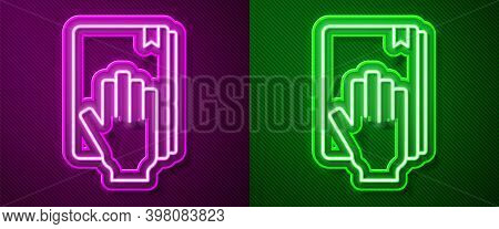 Glowing Neon Line Oath On The Holy Bible Icon Isolated On Purple And Green Background. The Procedure