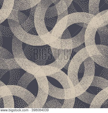 Stippled Weird Trendy Seamless Pattern Vector Abstract Background. Handmade Tileable Geometric Dotte