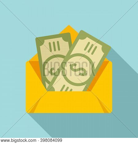Envelope Bribery Money Icon. Flat Illustration Of Envelope Bribery Money Vector Icon For Web Design