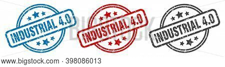 Industrial 4.0 Stamp. Industrial 4.0 Round Isolated Sign. Industrial 4.0 Label Set