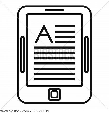 Linguist Tablet Icon. Outline Linguist Tablet Vector Icon For Web Design Isolated On White Backgroun