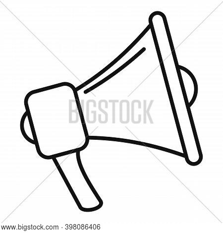 Megaphone Linguist Icon. Outline Megaphone Linguist Vector Icon For Web Design Isolated On White Bac
