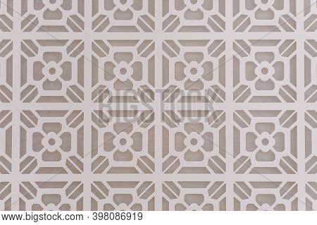 Decorative Graphic Background With Flowers. Pattern Of White Flowers On A Gray Background. Abstract
