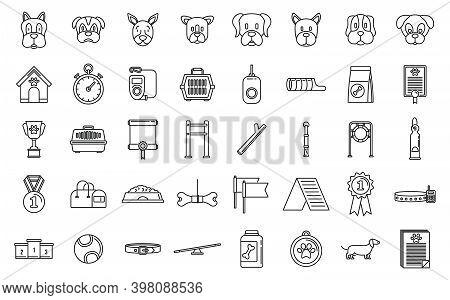 Dog Handler Trainer Icons Set. Outline Set Of Dog Handler Trainer Vector Icons For Web Design Isolat