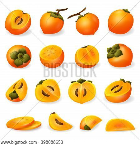 Persimmon Icons Set. Cartoon Set Of Persimmon Vector Icons For Web Design