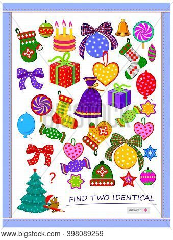 Logic Puzzle Game For Children And Adults. Find Two Identical Christmas Gifts. Memory Training Exerc