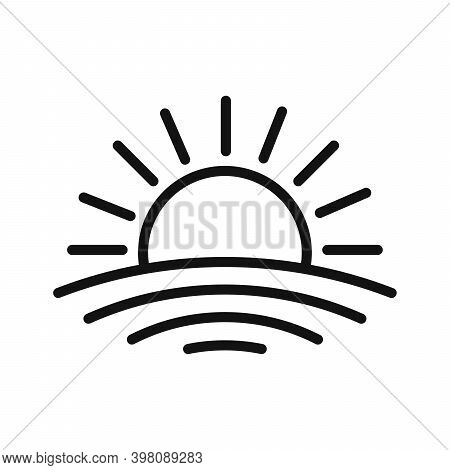 Sunset Linear Icon. Rising Sun Icon. Outline Black Icons. Vector Illustration