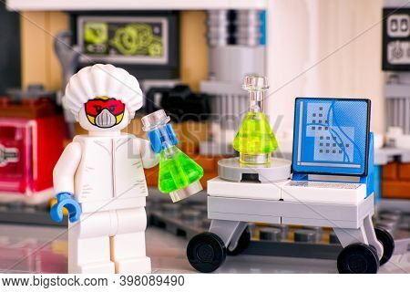 Tambov, Russian Federation - June 08, 2020 Lego Scientis Minifigure In Protective Suit With Flasks I