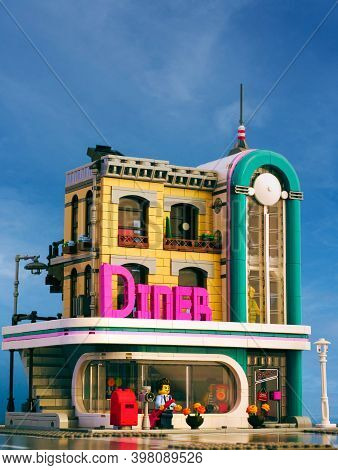 Tambov, Russian Federation - January 03, 2020 Lego Downtown Diner Building Against Blue Sky Backgrou
