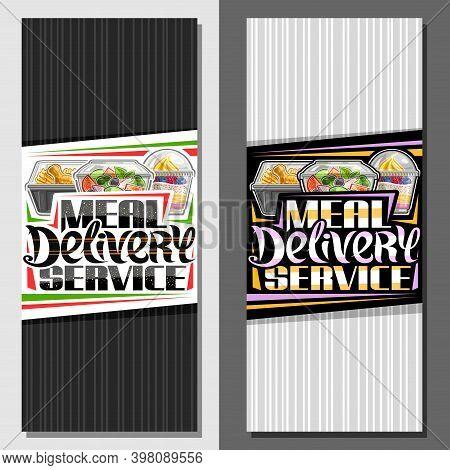 Vector Templates For Meal Delivery Service, Decorative Vertical Leaflet With Illustration Of Vegetar