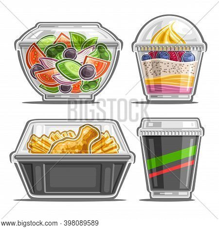 Vector Set For Meal Delivery Service, 4 Cut Out Illustrations Of Organic Salad In Clear Plate, Soft