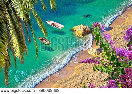 Idyllic Cote D'azur Sand Beach Aerial View, Villefranche Sur Mer, France