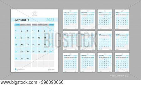 Calendar 2023 Template Vector, Desk Calendar 2023 Design, Week Start On Sunday, Planner, Stationery,