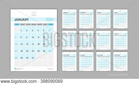 Calendar 2024 Template Vector, Desk Calendar 2024 Design, Week Start On Sunday, Planner, Stationery,