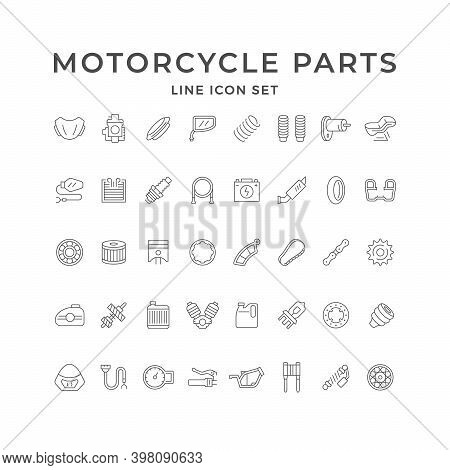 Set Line Icons Of Motorcycle Parts Isolated On White. Piston, Windshield, Battery, Gas Tank, Transmi