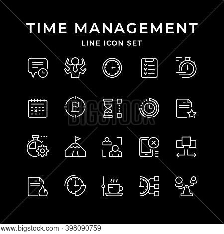 Set Line Icons Of Time Management Isolated On Black. Watch, Calendar, Time Period, Reminder, Target,