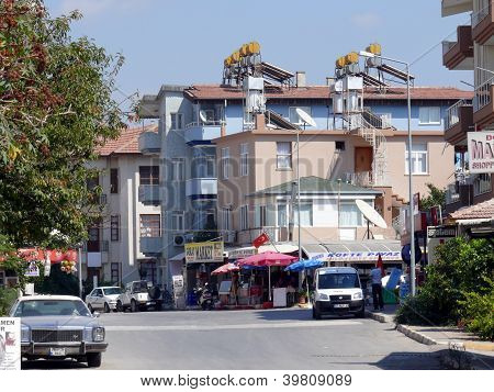 Side, Turkey - September 04, 2008: Town View With Buildings And People In Summer Day On September 04