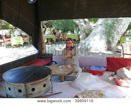 Alanya, Turkey - September 04, 2008: Woman Make A Traditional Meal In Hotel Bar On September 04, 200