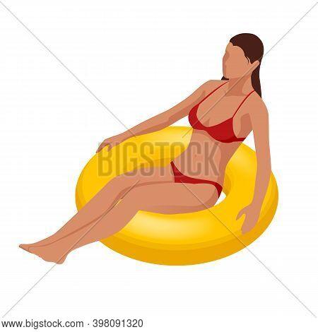 Isometric Young Woman On Air Mattress In The Big Swimming Pool. Summer Holiday Idyllic. Enjoying Sun
