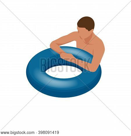 Isometric Young Man On Air Mattress In The Big Swimming Pool. Summer Holiday Idyllic. Enjoying Sunta