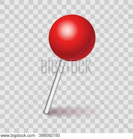 Plastic Pushpin Pin With Shadow Isolated On Transparent Background. Vector Illustration