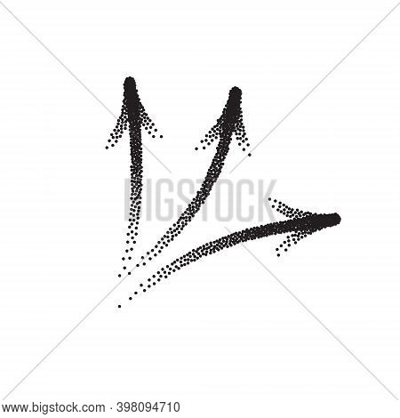 Handdrawn Stipple Arrow Vector In Sketch Style Isolated On White Background. Arrows Pencil Vector Il