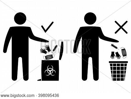 Disposal Of Medical Mask, Gloves And Surgical. The Man Throws The Medical Trash. Biohazard Waste Dis