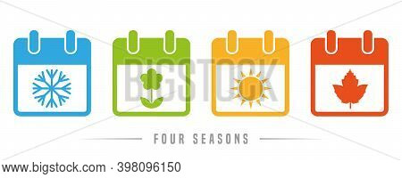 Four Seasons Winter Spring Summer Autumn Calendar Icon Set Vector Illustration Eps10
