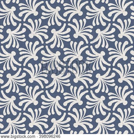 Seamless French Farmhouse Linen Summer Block Print Background. Provence Blue Gray Linen Rustic Patte