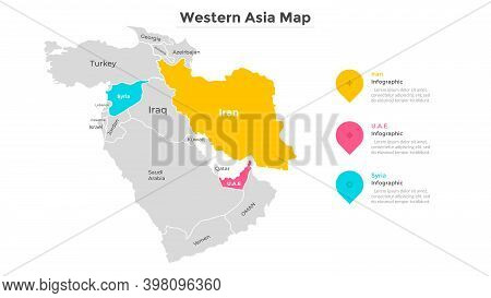 Map Of West Asia With Country Boundaries. Western Part Of Asian Continent Divided By State Borders.