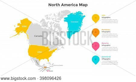 Map Of North America Divided By Territorial Boundaries. American Subcontinent With Country Division.