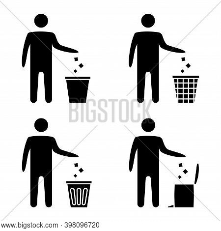 Garbage Symbol. Trash Icon. Disposable Icon. Tidy Man Symbol, Do Not Litter, Icon, Keep Clean. Man D