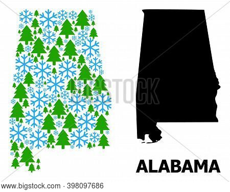 Vector Mosaic Map Of Alabama State Designed For New Year, Christmas, And Winter. Mosaic Map Of Alaba