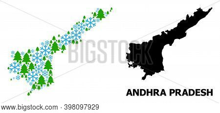 Vector Mosaic Map Of Andhra Pradesh State Combined For New Year, Christmas, And Winter. Mosaic Map O