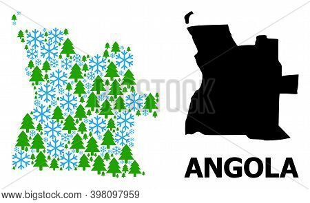 Vector Collage Map Of Angola Done For New Year, Christmas, And Winter. Mosaic Map Of Angola Is Done