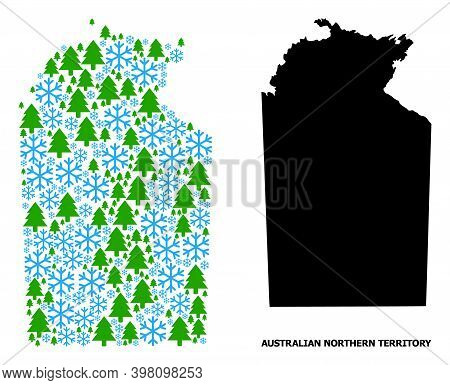 Vector Mosaic Map Of Australian Northern Territory Combined For New Year, Christmas, And Winter. Mos