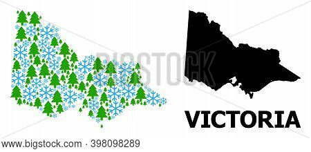 Vector Mosaic Map Of Australian Victoria Created For New Year, Christmas, And Winter. Mosaic Map Of