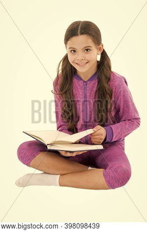 Doing Homework. Reading For Fun. Literature As Hobby. Happy Small Child Read Childrens Literature. A