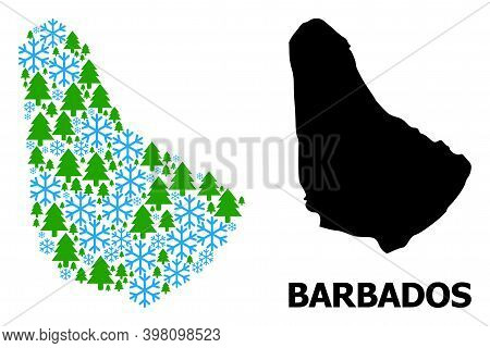 Vector Composition Map Of Barbados Created For New Year, Christmas, And Winter. Mosaic Map Of Barbad