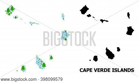 Vector Mosaic Map Of Cape Verde Islands Organized For New Year, Christmas, And Winter. Mosaic Map Of