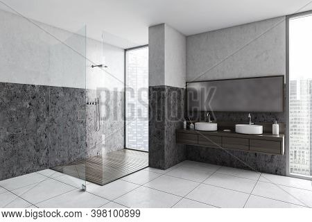 Grey And White Bathroom With Two Sinks And Glass Shower, Side View, Large Window With City View. Min
