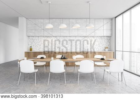 White And Wooden Minimalist Kitchen, Front View, Dining Table With Chairs And Dishes, Window With Ci