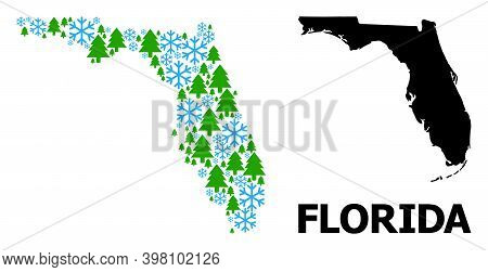 Vector Mosaic Map Of Florida State Created For New Year, Christmas, And Winter. Mosaic Map Of Florid