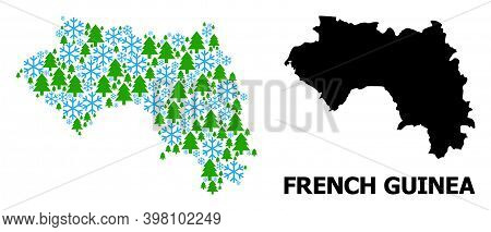 Vector Mosaic Map Of French Guinea Constructed For New Year, Christmas, And Winter. Mosaic Map Of Fr