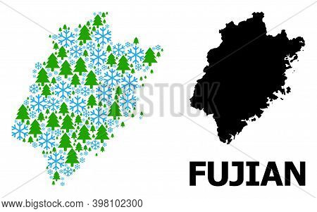 Vector Mosaic Map Of Fujian Province Designed For New Year, Christmas, And Winter. Mosaic Map Of Fuj