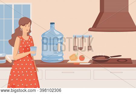 Young Smiling Woman With A Glass Of Water Standing In The Kitchen Vector Flat Illustration. Woman Dr