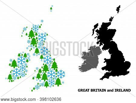 Vector Collage Map Of Great Britain And Ireland Designed For New Year, Christmas, And Winter. Mosaic