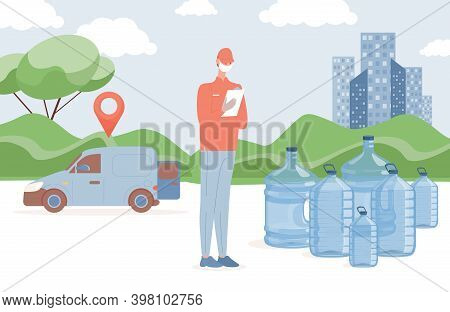 Fresh And Clean Bottled Water Delivery Vector Flat Illustration. Delivery Man In Protective Face Mas