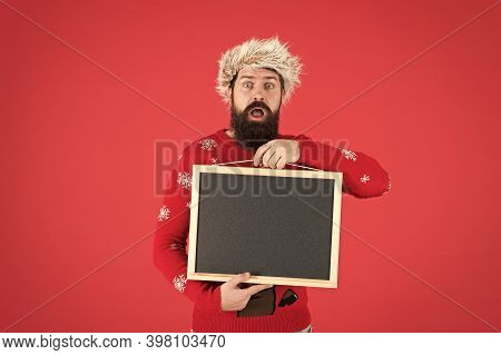 Your Company Name Here. Bearded Man With Blank Advertising Blackboard. Hipster Hold Empty School Bla
