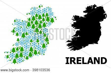 Vector Mosaic Map Of Ireland Island Created For New Year, Christmas, And Winter. Mosaic Map Of Irela